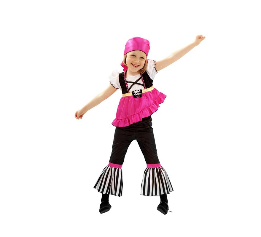 Disfraz de Pirata Rosa para niñas de 3 a 4 años. Incluye top, pantalón y pañuelo.