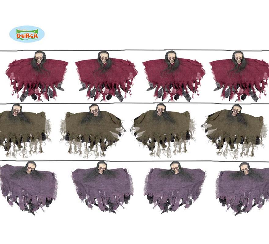 Guirnalda de 6 Esqueletos 170 cm para decorar en Halloween.  Precio por guirnalda, se venden por separado.