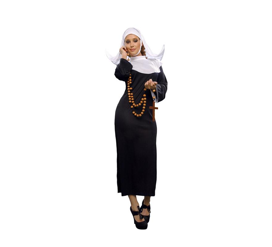 Disfraz de Monja Adulta Económico. Talla Standar M-L 38/42. Incluye vestido y cofia.