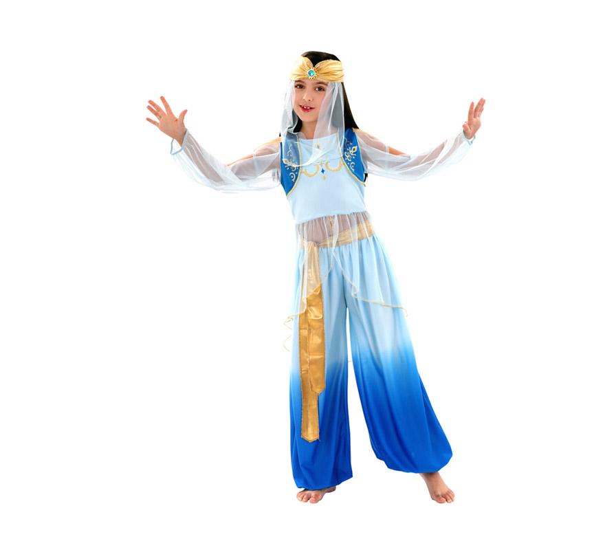 Disfraz de Princesa Mora para niñas de 7 a 9 años. Incluye top, pantalón, tocado y cinturón. Disfraz de Bailarina Árabe. Ideal para parecerte a Jasmin.