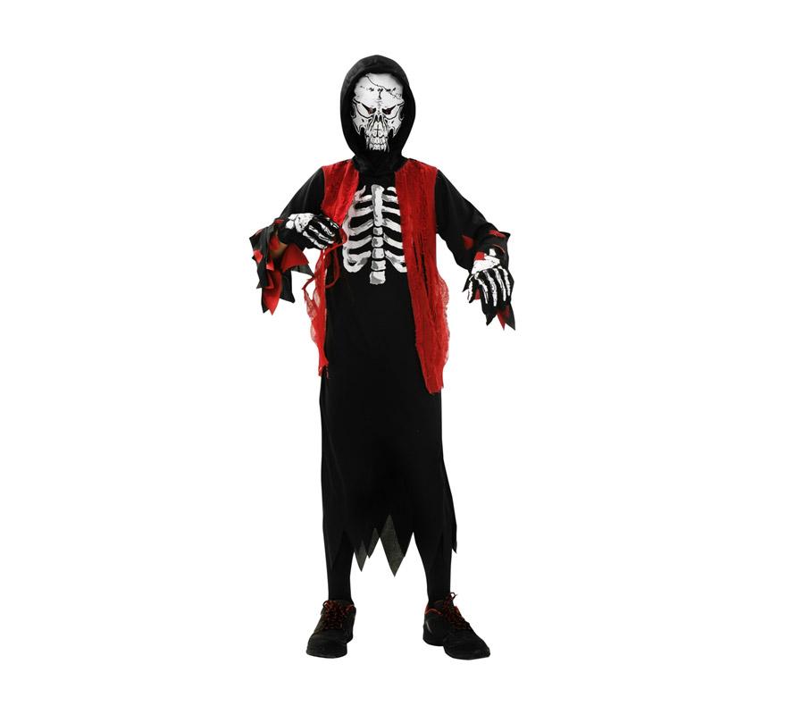 Disfraz de Esqueleto Muerte para niños de 7 a 9 años. Incluye túnica con capucha y máscara y guantes.