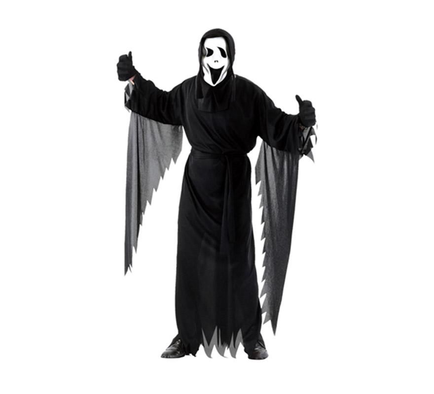 Disfraz de Scream adulto para Halloween barato. Talla Standar M-L = 52/54. Incluye túnica, cinturón y máscara con capucha.
