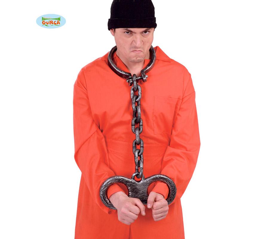 Cadena de cuello y manos 70 cm. Ideal para disfraces de Preso o Presidiario y por supuesto para Halloween.