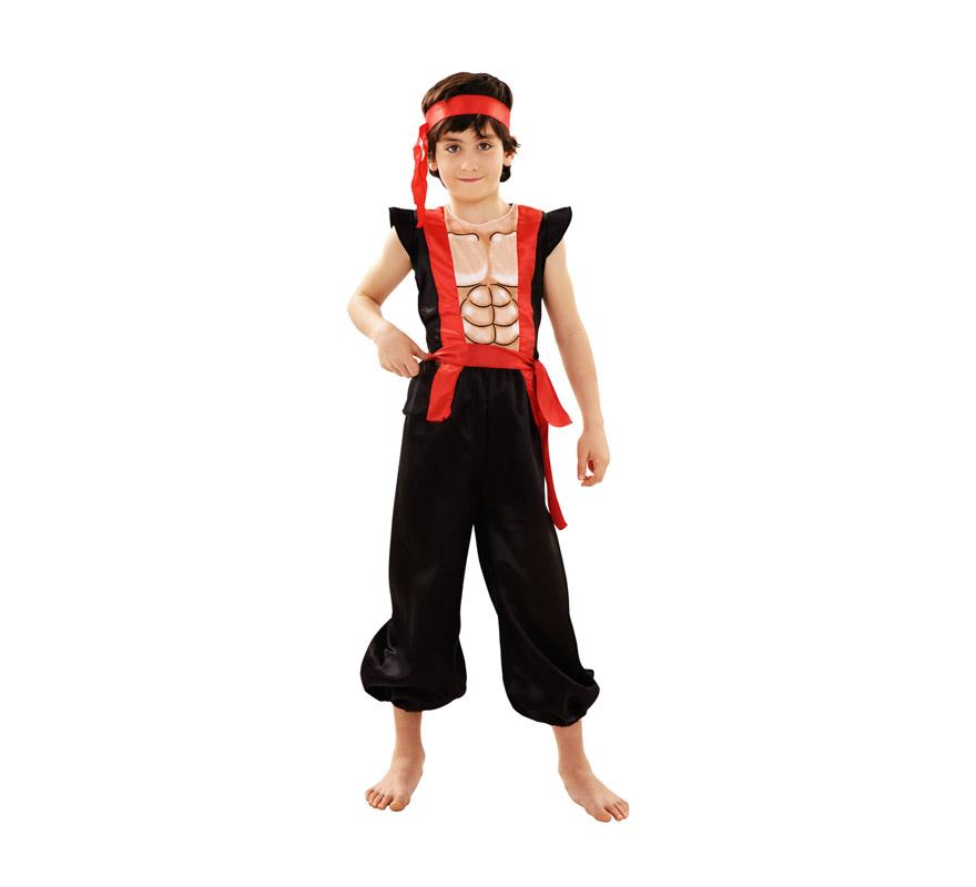 Disfraz de Ninja Musculoso para niños de 5 a 6 años. Incluye cinta para la cabeza, camiseta y pantalón.