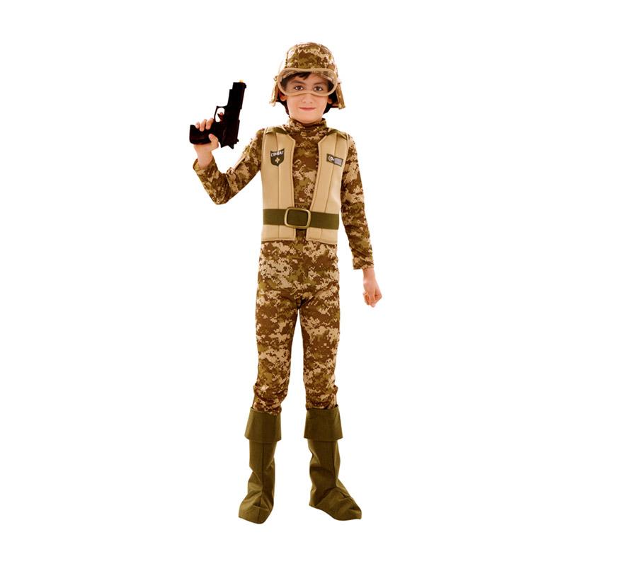 Disfraz de Soldado Marine o Soldado Americano para niños de 5 a 6 años. Incluye mono con chaleco y cinturón, gorro con gafas y cubrebotas.