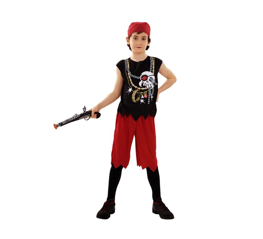 Disfraz de Pirata Calavera para niños de 10 a 12 años. Incluye camiseta, pantalón y pañuelo para la cabeza. Trabuco NO incluido, podrás verlo en la sección de Complementos.