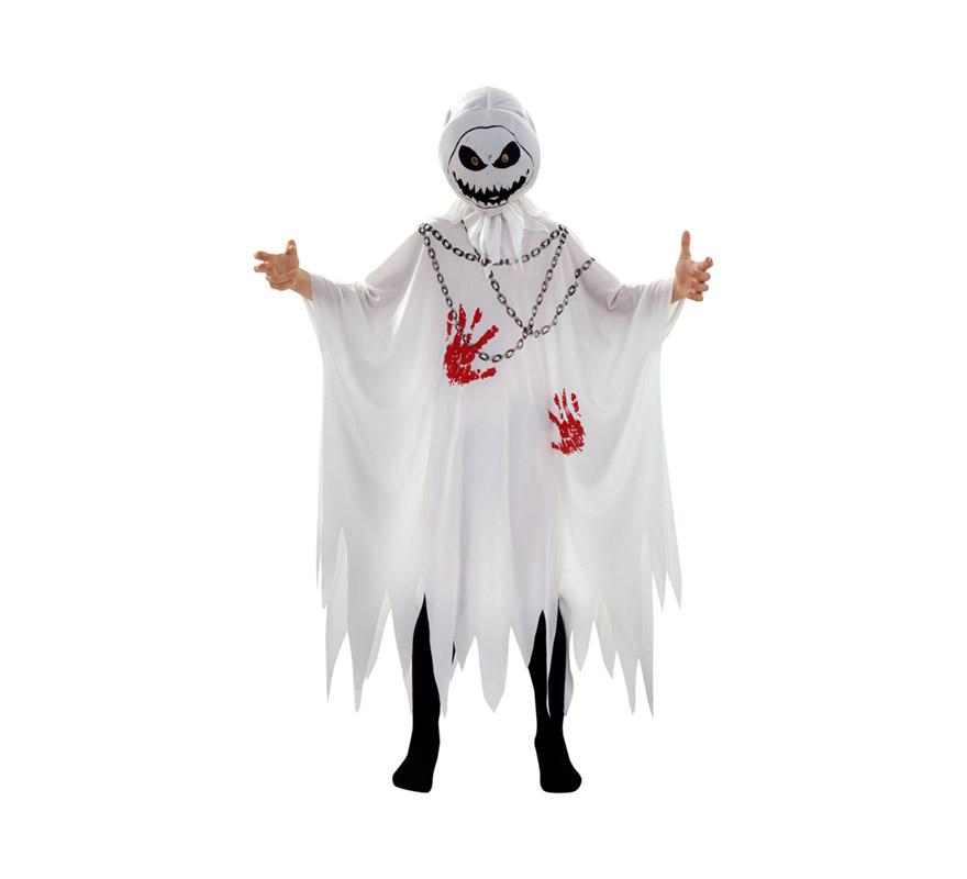 Disfraz de Fantasma Sangriento para niños de 5 a 6 años. Incluye túnica impresa y máscara.