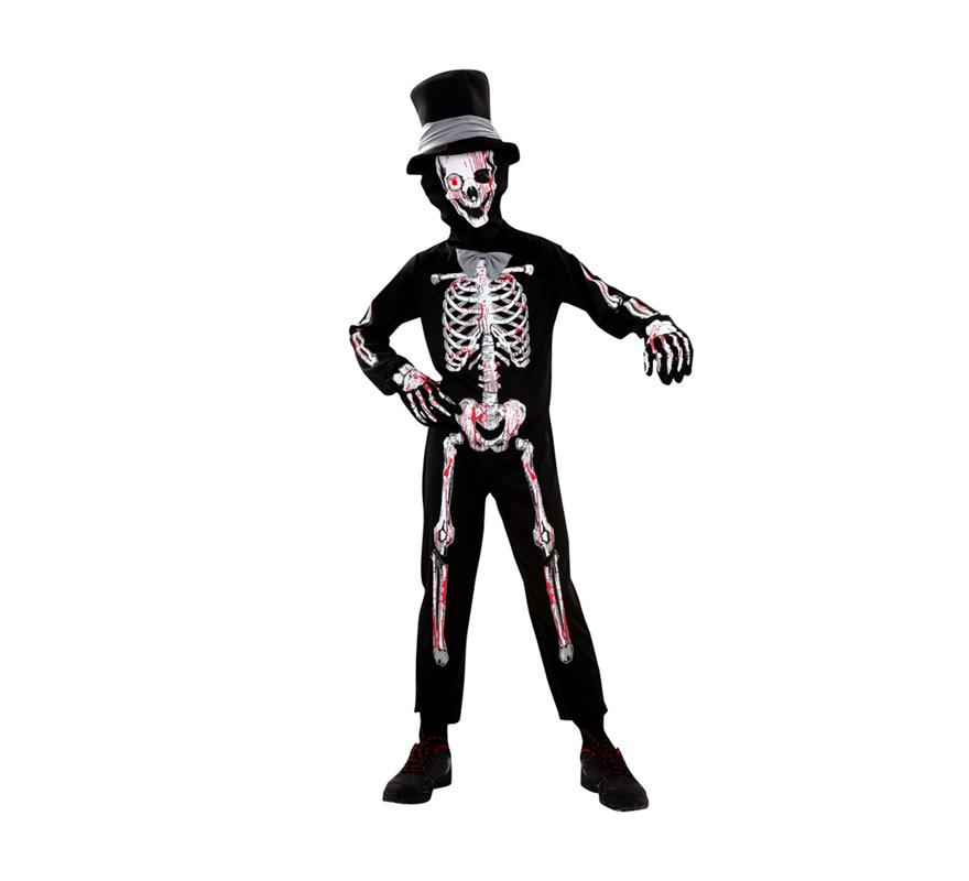 Disfraz de Esqueleto Sangriento para niños de 7 a 9 años. Incluye sombrero, máscara, mono con pajarita y guantes.