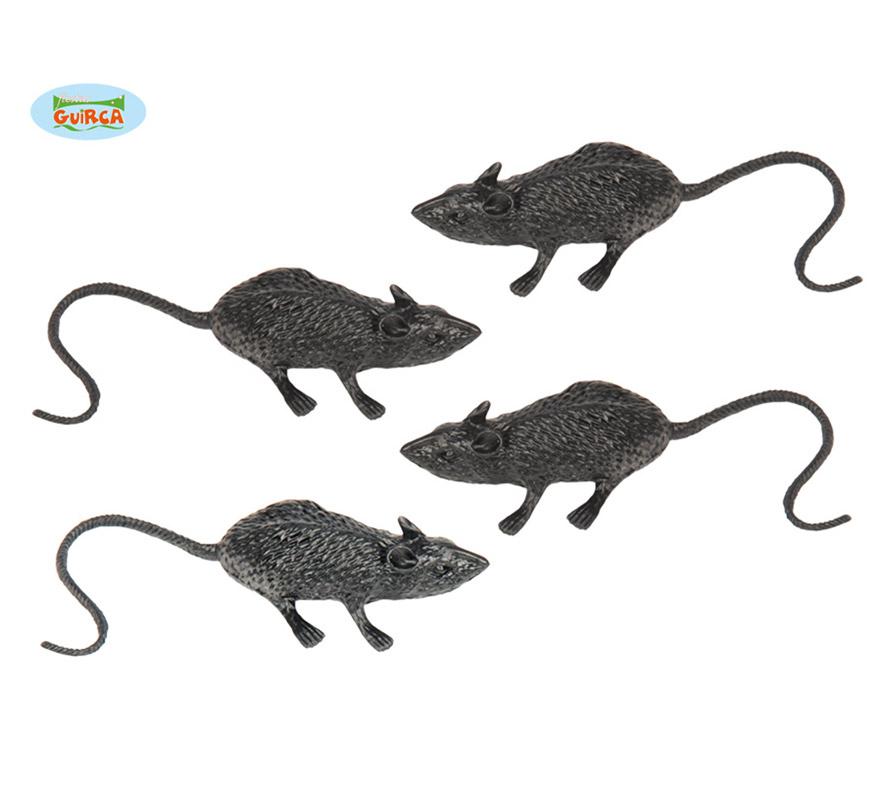 Bolsa con 4 ratas de 6 cm. para decoración Halloween.