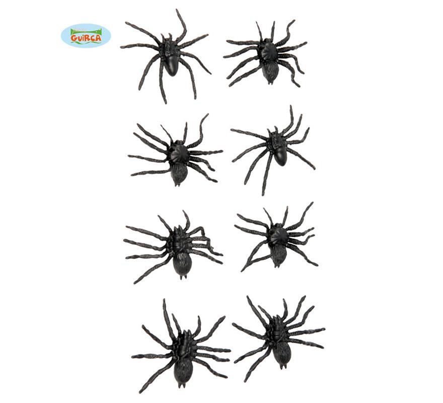Bolsa con 8 Arañas de 6 cm. para decorar en Halloween.