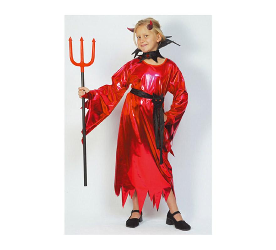 Disfraz de Demonio o Diablesa Niña económico talla de 7 a 9 años. Incluye vestido, cinturón y collarín. Tridente NO incluido.