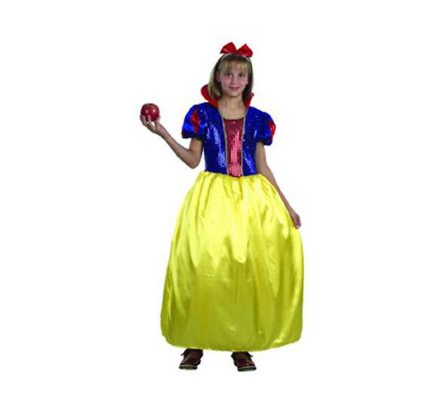 Disfraz de Blancanieves talla de 7 a 9 años. Incluye camisa, falda y cinta cabeza.
