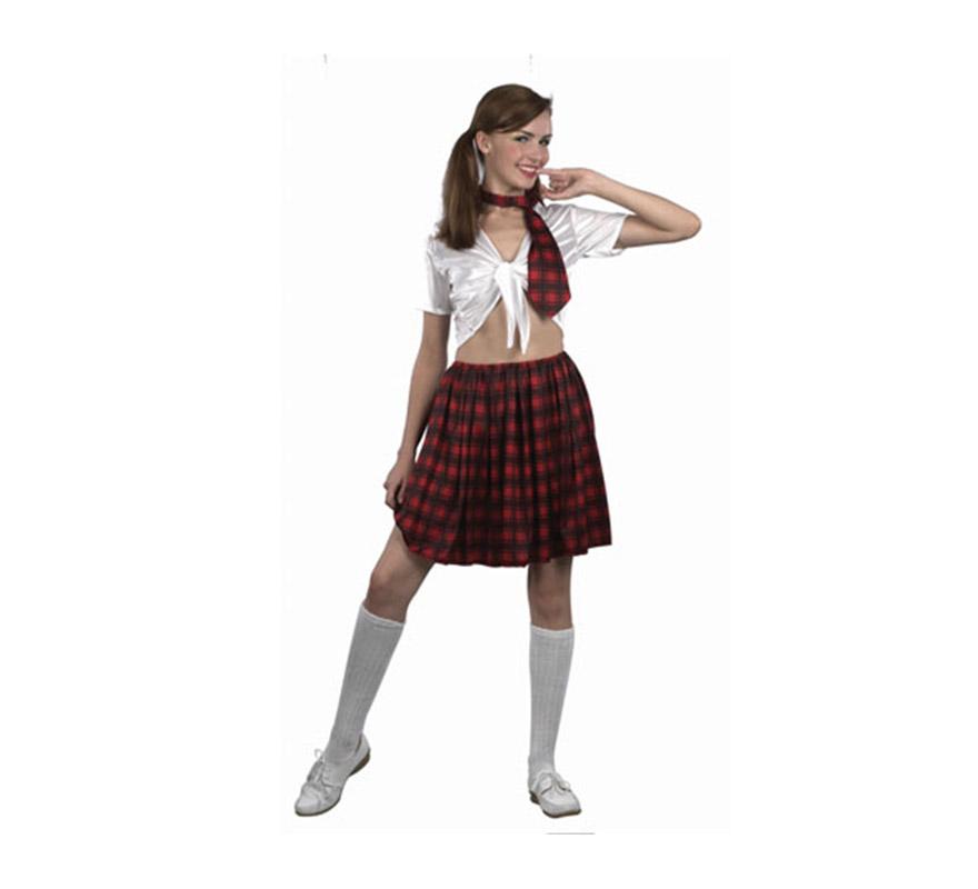 Disfraz barato de Colegiala Sexy para mujer. Talla standar M-L = 38/42. Incluye camisa, falda y corbata. Calcetas NO incluidas.
