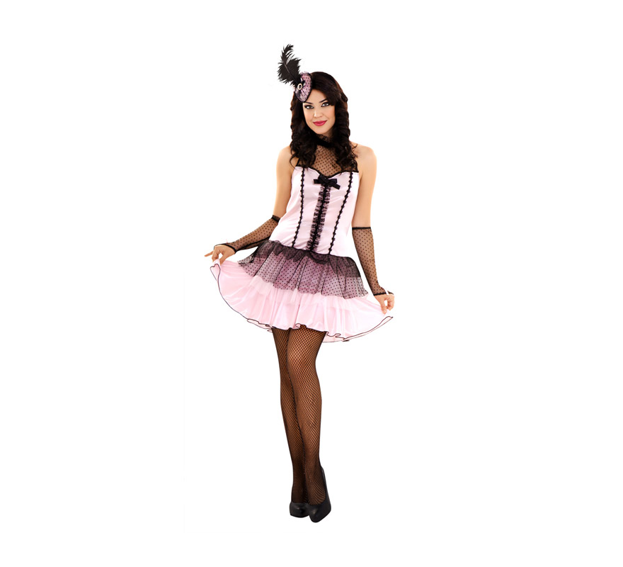 Disfraz de Bailarina de Cabaret para mujer. Talla Standar M-L. Incluye tocado, vestido y manguitos. Medias NO Incluidas, podrás verlas en la sección de Complementos.