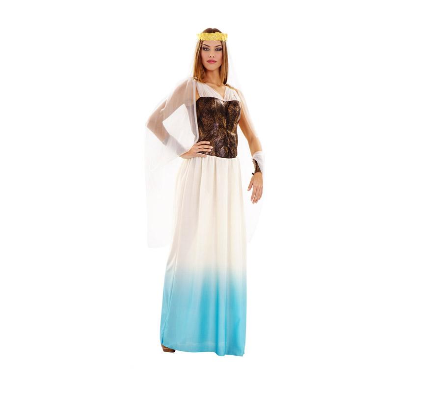 Disfraz de Diosa Romana Lujo para mujer. Talla M-L = 38/42. Incluye vestido con capa y tocado.