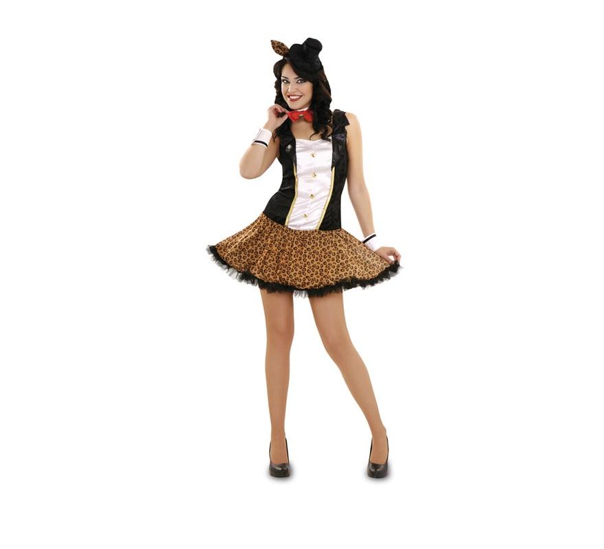 Disfraz de Gatita de Circo Sexy para mujer. Talla M-L 38/42. Incluye tocado, pajarita, vestido y puños.