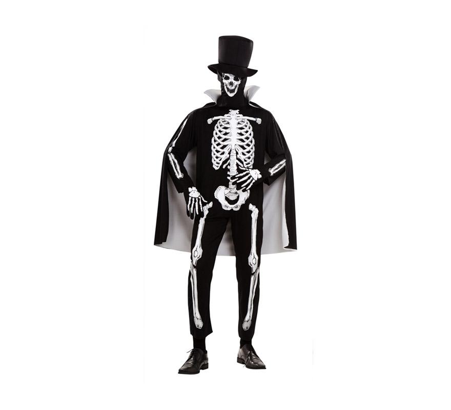 Disfraz de Hombre Esqueleto para Halloween. Talla Standar M-L 52/54. Incluye sombrero, capa, mono, máscara y guantes.