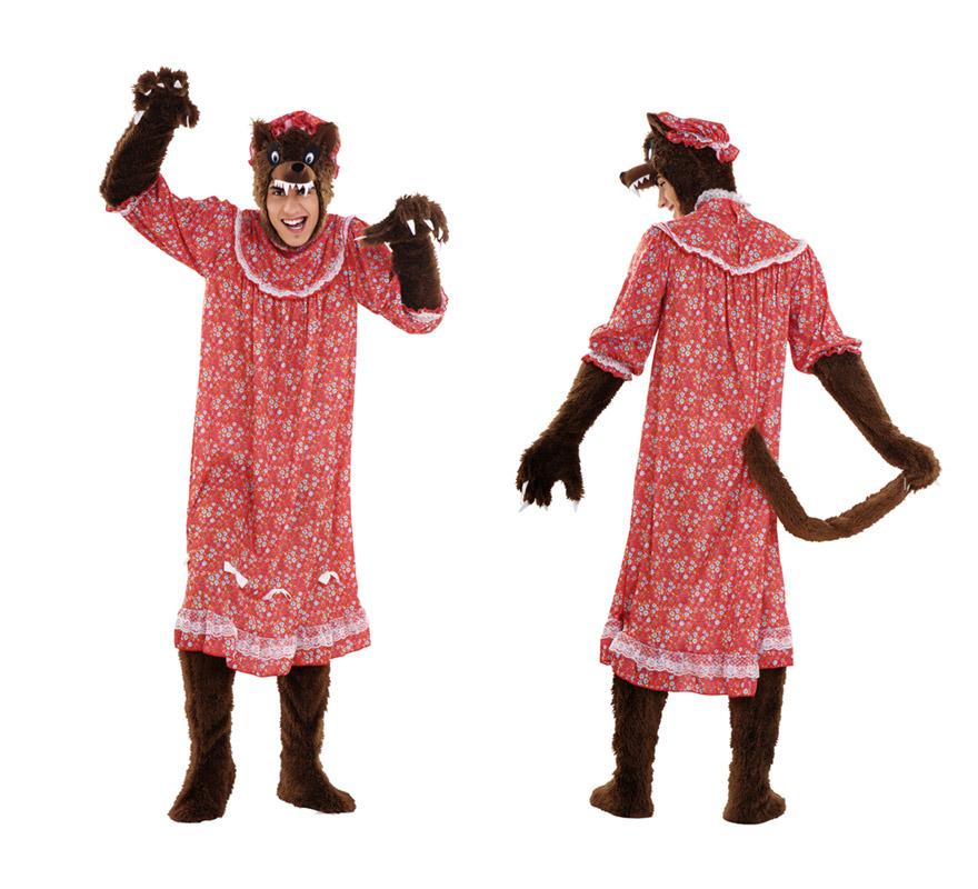 Disfraz de Lobo disfrazado de Abuela para hombre. Talla Standar M-L 52/54. Incluye verdugo con lobo. gorro, vestido, pies y manos. Ideal para disfrazarte de la Abuelita de Caperucita.