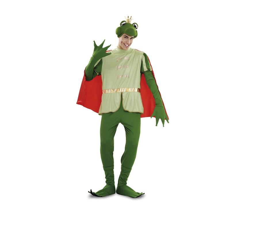 Disfraz de Príncipe Rana para hombre. Talla Standar M-L 52/54. Incluye gorro, mono con capa y cubrebotas. Con éste disfraz podrás parecerte al Sapo de Tiana.
