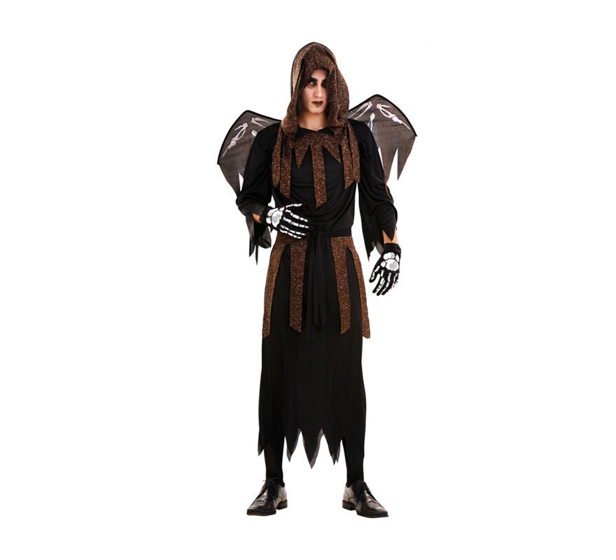 Disfraz de La Muerte con Alas para hombre. Talla Standar M-L 52/54. Incluye alas, túnica con capucha, cinturón y guantes.