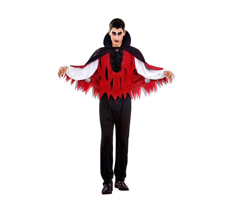 Disfraz de Vampiro para hombres. Talla Standar M-L 52/54. Incluye sombrero, capa, camisa y pantalón.