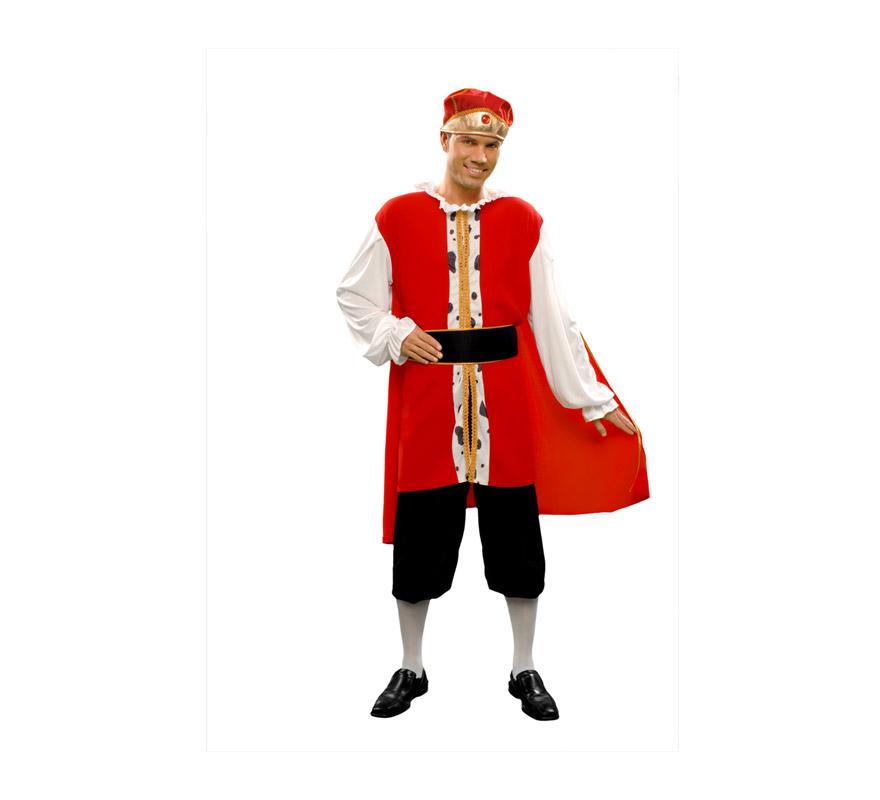 Disfraz barato de Rey Medieval para hombre. Talla standar M-L = 52/54. Incluye camisa, cinturón, capa, pantalón y gorro. La pareja de éste modelo es la Reina Medieval ref. 19486BT.