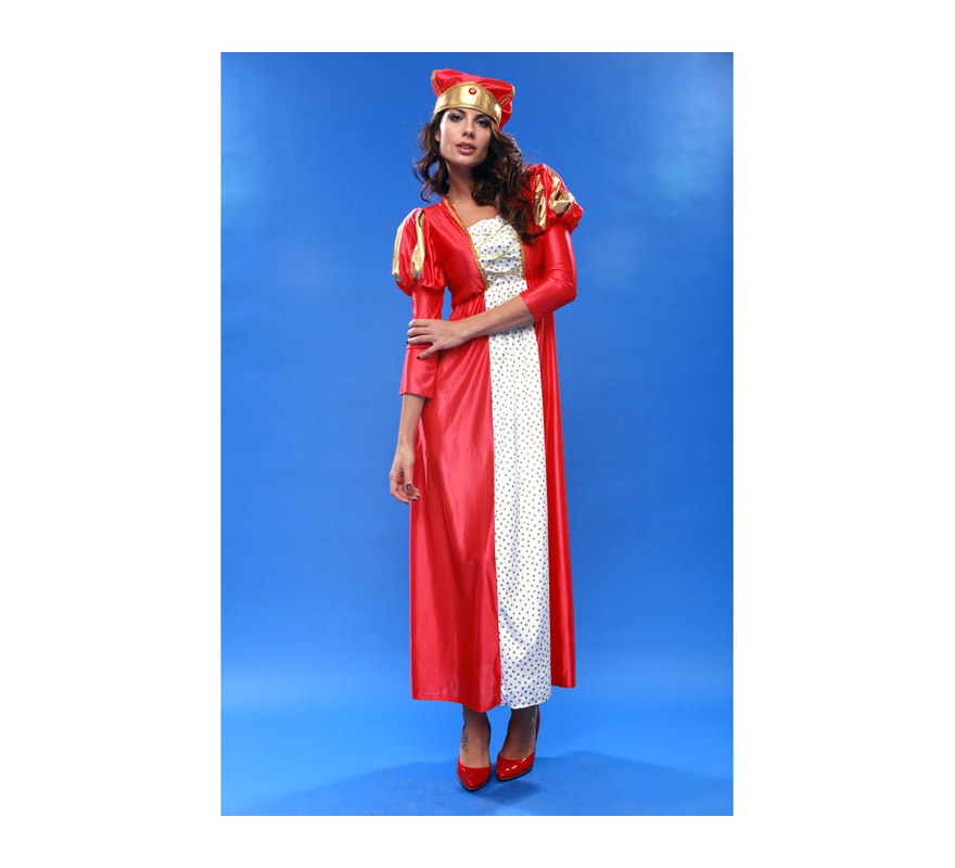 Disfraz barato de Reina Medieval para mujer. Talla standar M-L = 38/42. Incluye vestido y tocado. La pareja de éste modelo es la ref. 19485BT.
