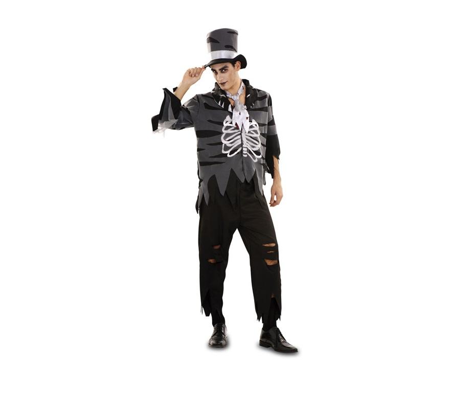 Disfraz de Zombie Esqueleto para hombre Talla Standar M-L 52/54. Incluye sombrero, chaqueta, corbata y pantalón.