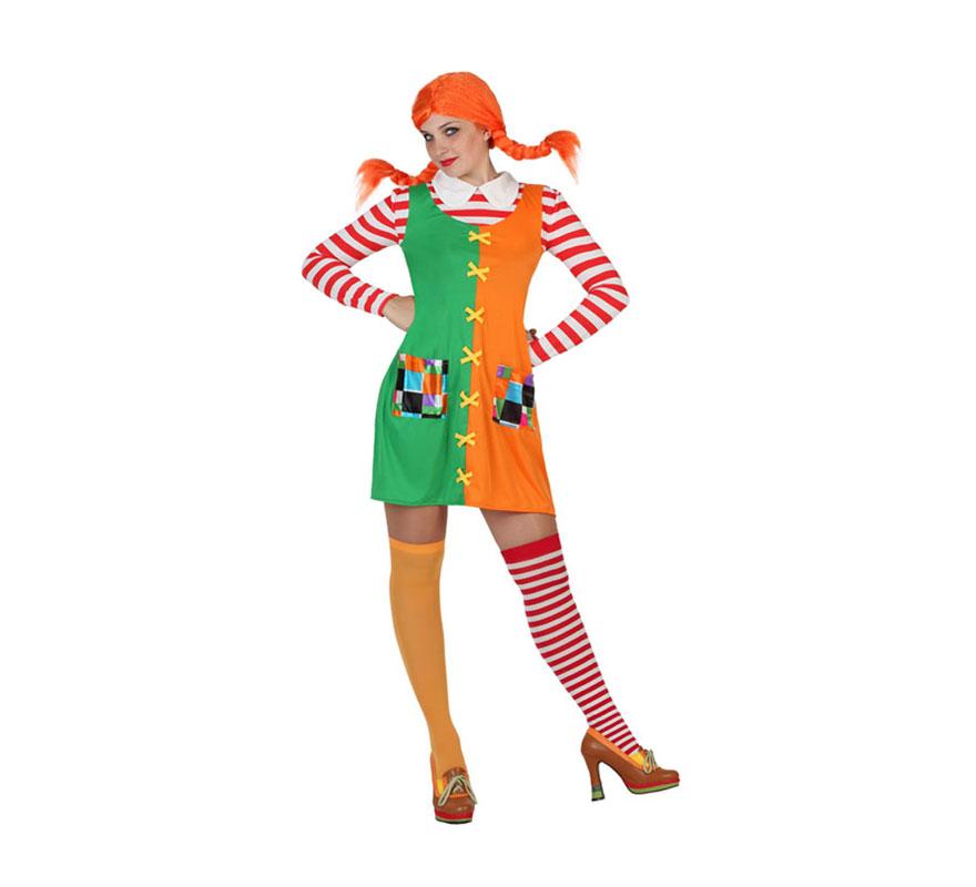 Disfraz de Pipi niña Traviesa para mujer. Talla S = 34/38 para chicas delgadas y adolescentes. Incluye vestido. Peluca, medias y zapatos NO incluidos. Ideal para imitar a  Pipi Calzaslargas.