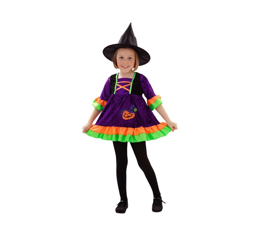 Disfraz de Bruja o Brujita para niñas de 3 a 4 años. Incluye vestido y sombrero.