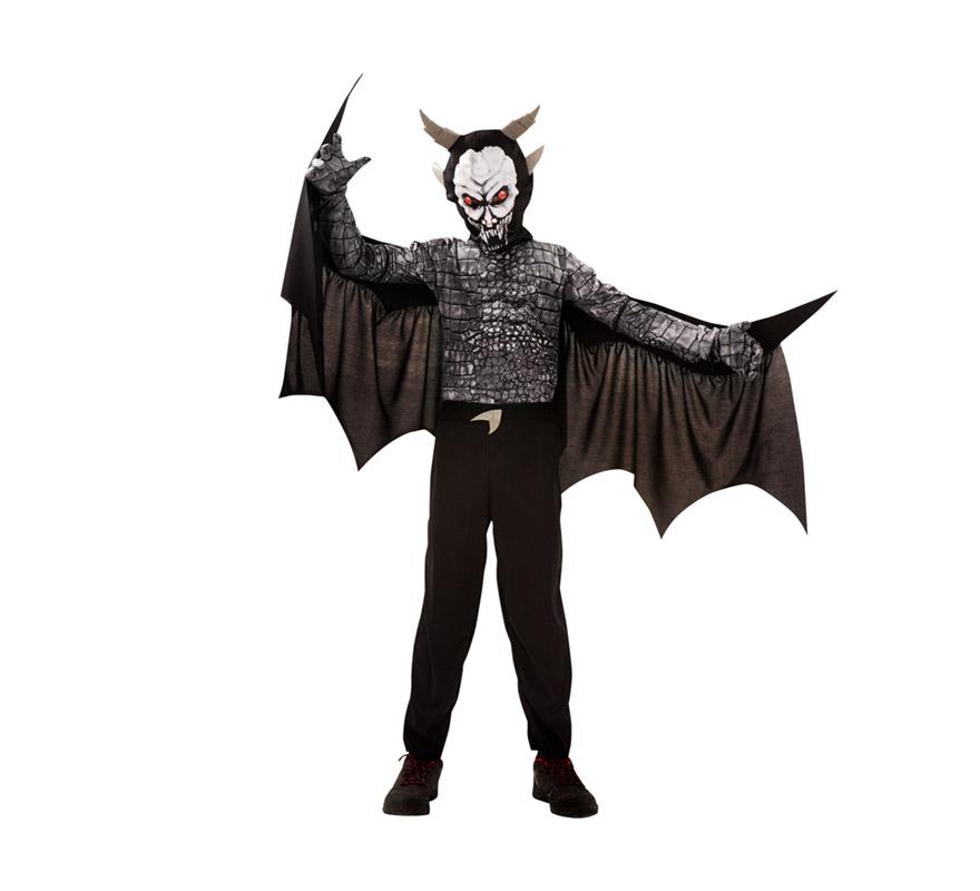 Disfraz de Demonio Monstruo alado para niños de 5 a 6 años. Incluye camisa musculosa con alas, pantalón, máscara y guantes.