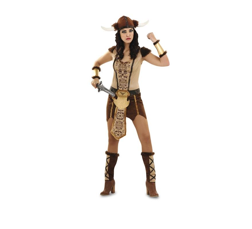 Disfraz de Vikinga sexy para mujer. Talla Standar M-L 38/42. Incluye vestido, espinilleras, manguitos y sombrero. Espada NO incluida, podrás encontrar en la sección de Complementos.