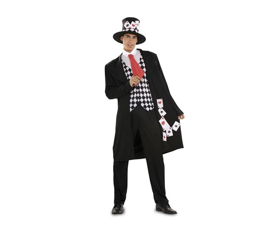 Disfraz de Póker para hombre. Talla M-L 52/54. Incluye sombrero, chaqueta, camisa, corbata y pantalón. Disfraz super original de Caballero baraja de Póker, Crupier o Croupier para hombre.