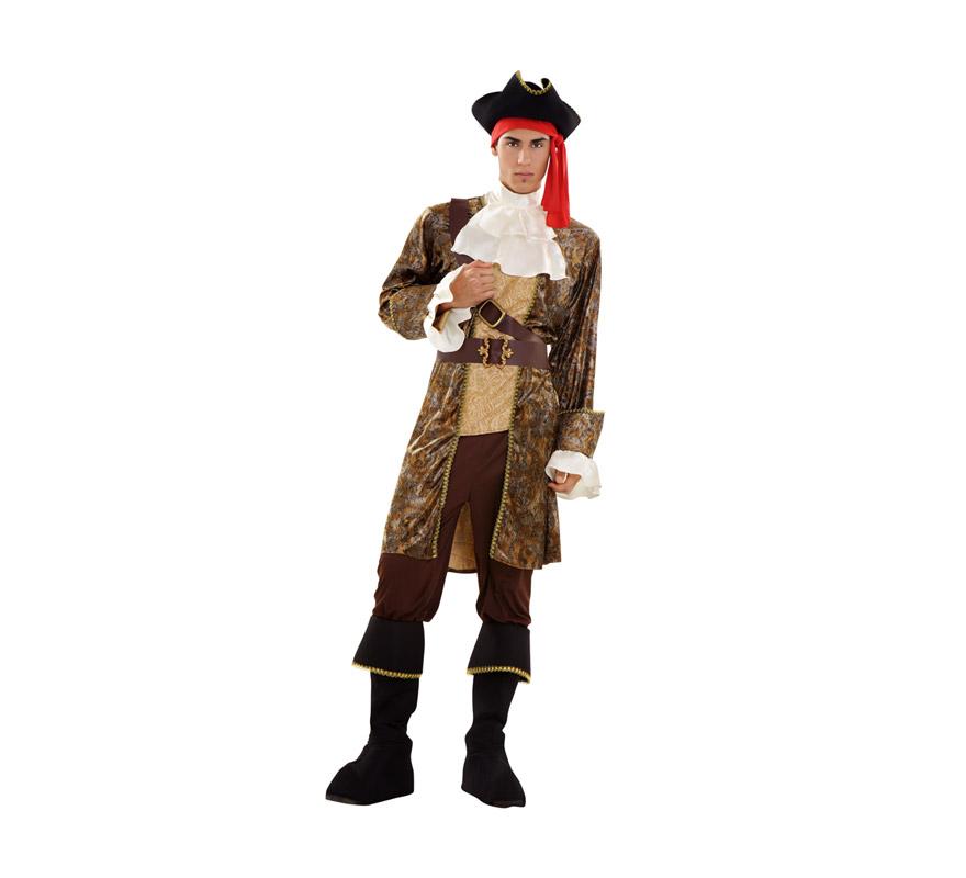 Disfraz de Pirata Corsario Lujo para hombre. Talla M-L = 52/54. Incluye sombrero, chorrera, chaqueta, cinturón, pantalón y botas.