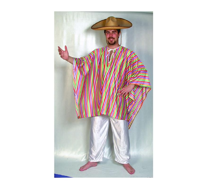 Disfraz de Mejicano Adulto Económico. Talla Standar M-L = 52/54. Incluye poncho y pantalones. Gorro NO incluido, podrás verlo en la sección de complementos.
