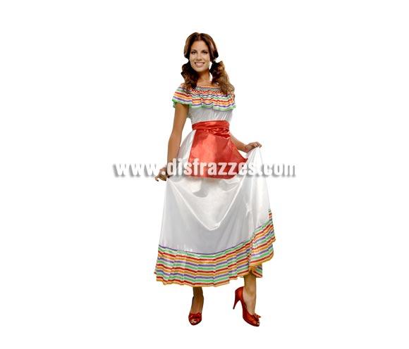 Disfraz de Mejicana Adulta Económico. Talla standar M-L = 38/42. Incluye vestido y delantal.