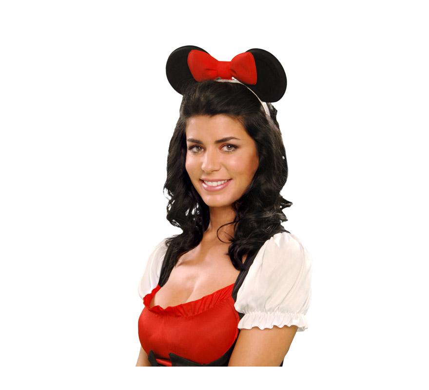 Diadema de ratoncita con orejas y lazo de plástico. Orejas de Minnie Mouse. Se usan mucho en Despedidas de Soltera.