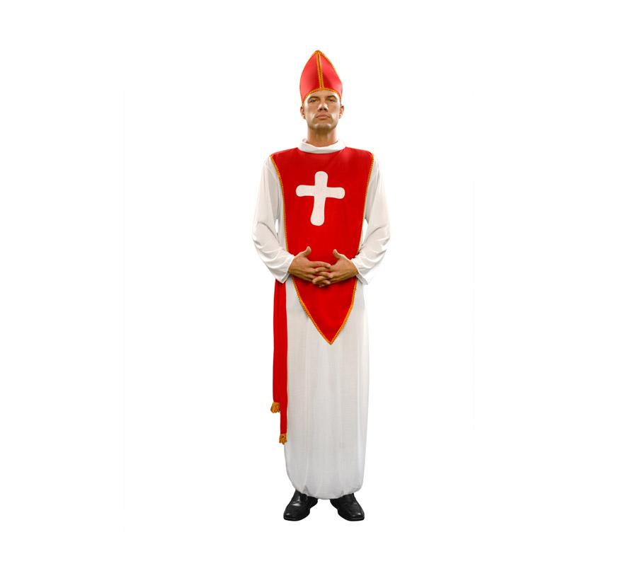 Disfraz barato de Obispo para hombre. Talla standar M-L = 52/54. Incluye toga, cinturón y sombrero.