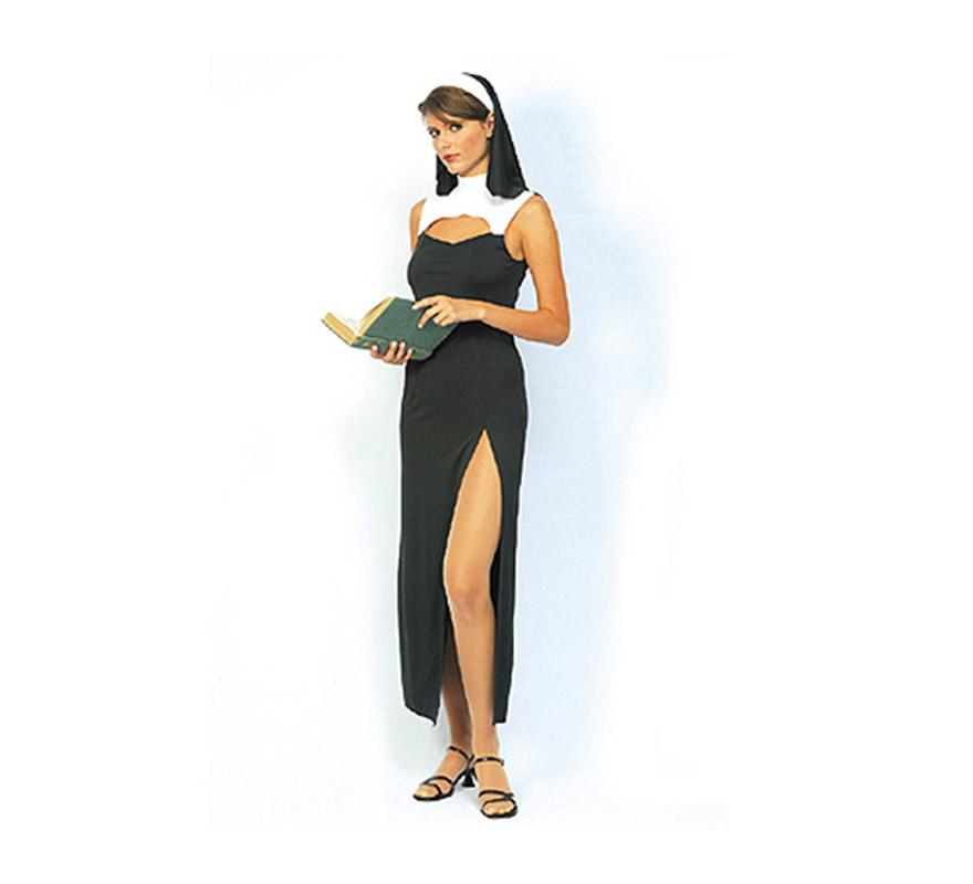 Disfraz de Hermana Pecadora Económico. Talla standar M-L = 38/42. Incluye cofia y vestido. Disfraz de Monja Sexy.