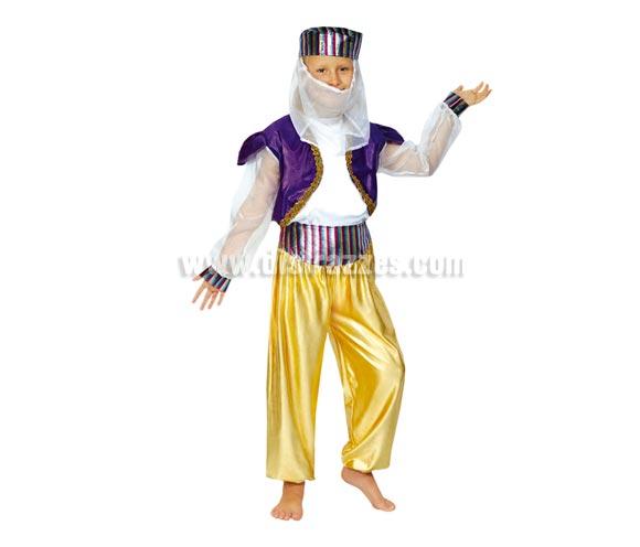Disfraz de Bailarina Árabe o de Paje Real para Carnaval o para Navidad. Talla de 4 a 6 años. Incluye camisa , pantalón y gorro. Éste disfraz de Navidad es ideal para la época Navideña en la que los niños hacen teatros de Belenes e interpretan canciones tradicionales en los Colegios y se comienzan a preparar las Fiestas en las que Reina la Paz y la Unidad. Disfrazándote con un disfraz para Navidad, o disfrazando a tus hijos con disfraces de Navidad, ayudas a crear ese ambiente mágico en el que los peques se sienten protagonistas y sienten el auténtico Espíritu Navideño que entre todos debemos crear. ¡¡Compra tu disfraz para Navidad en nuestra tienda de disfraces, será divertido!!