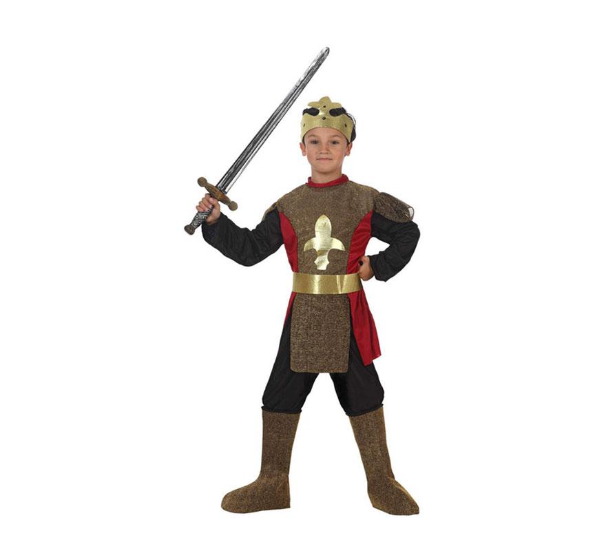 Disfraz de Caballero Medieval para niños de 5-6 años. Espada NO incluida, podrás ver espadas en la sección de Complementos - Armas.