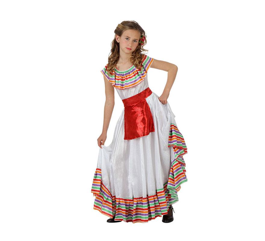 Disfraz de Mejicana para niñas de 5 a 6 años. Incluye vestido con delantal.