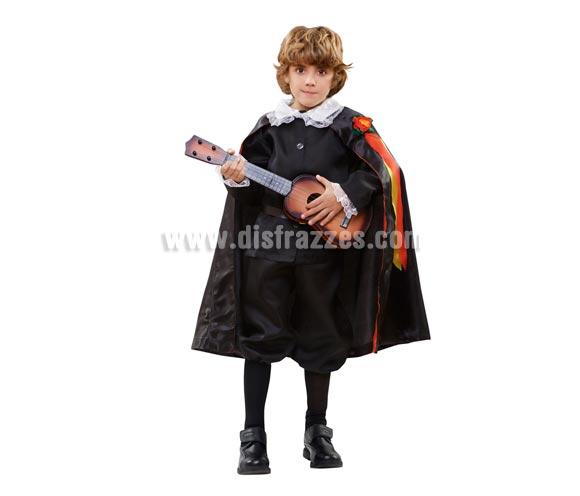 Disfraz barato de Tuno para Carnaval. Talla de 5 a 6 años. Incluye pantalón, chaqueta, capa y cinturón.