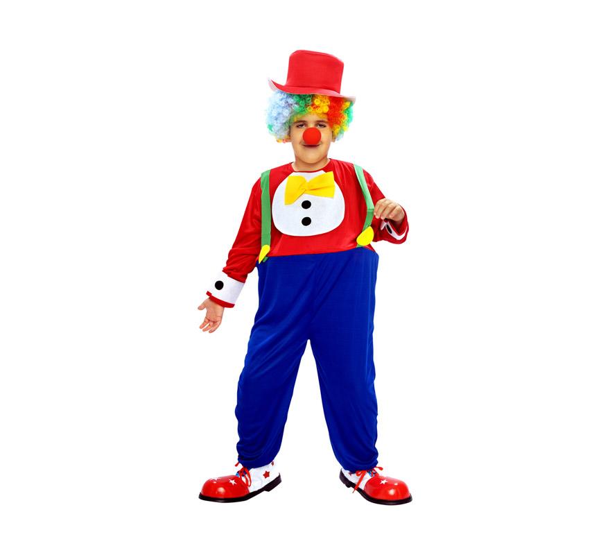Disfraz de Payaso infantil. Talla de 5 a 6 años. Incluye traje con aro, peto, lazo y sombrero. Resto de accesorios NO incluidos, podrás verlos en la sección de Complementos.