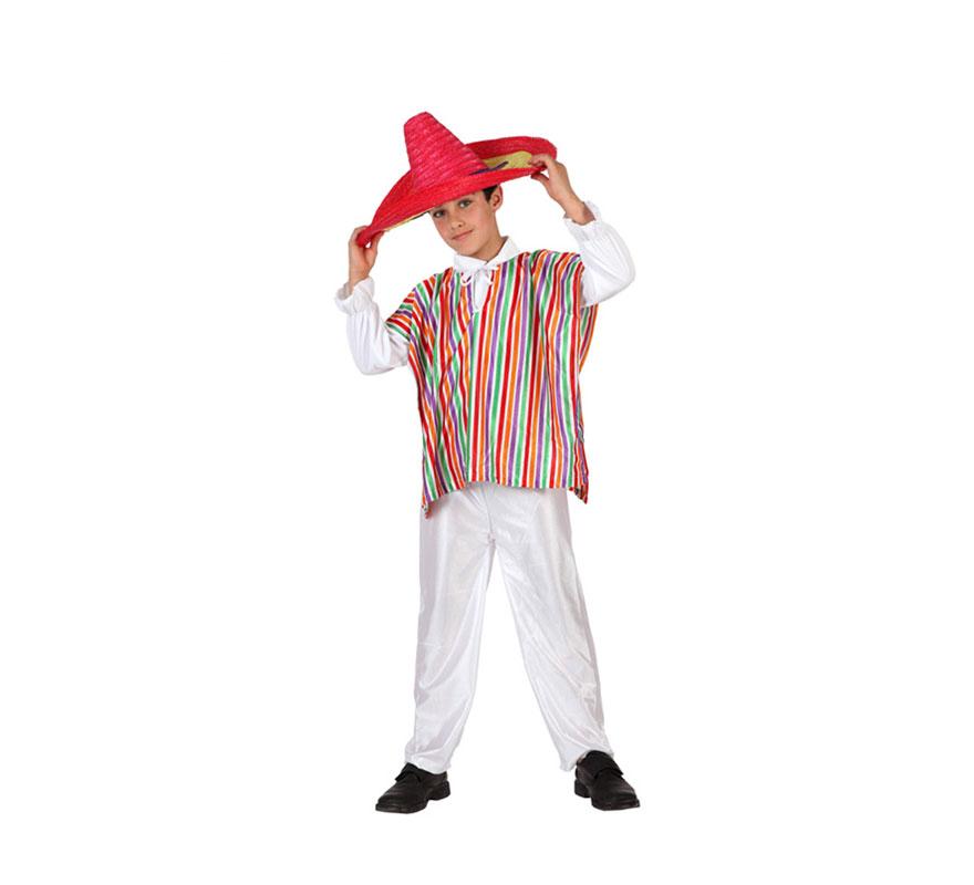 Disfraz de Mejicano para niños de 5-6 años. Incluye poncho y pantalón. Camisa y sombrero No incluido, podrás encontrar el sombrero en nuestra sección de Accesorios.