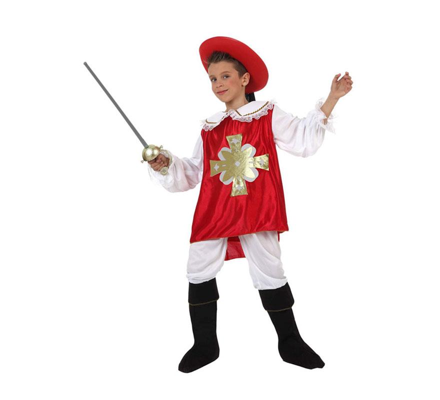 Disfraz barato de Mosquetero rojo para niños de 5 a 6 años. Incluye disfraz completo SIN florete y SIN sombrero. Los podrás encontrar en la sección de Complementos.