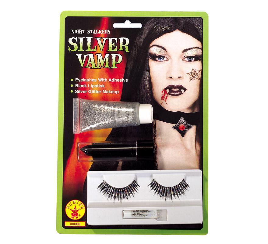 Set de maquillaje de Bruja negro para Halloween. Incluye pestañas, pintalabios y gel glitter.