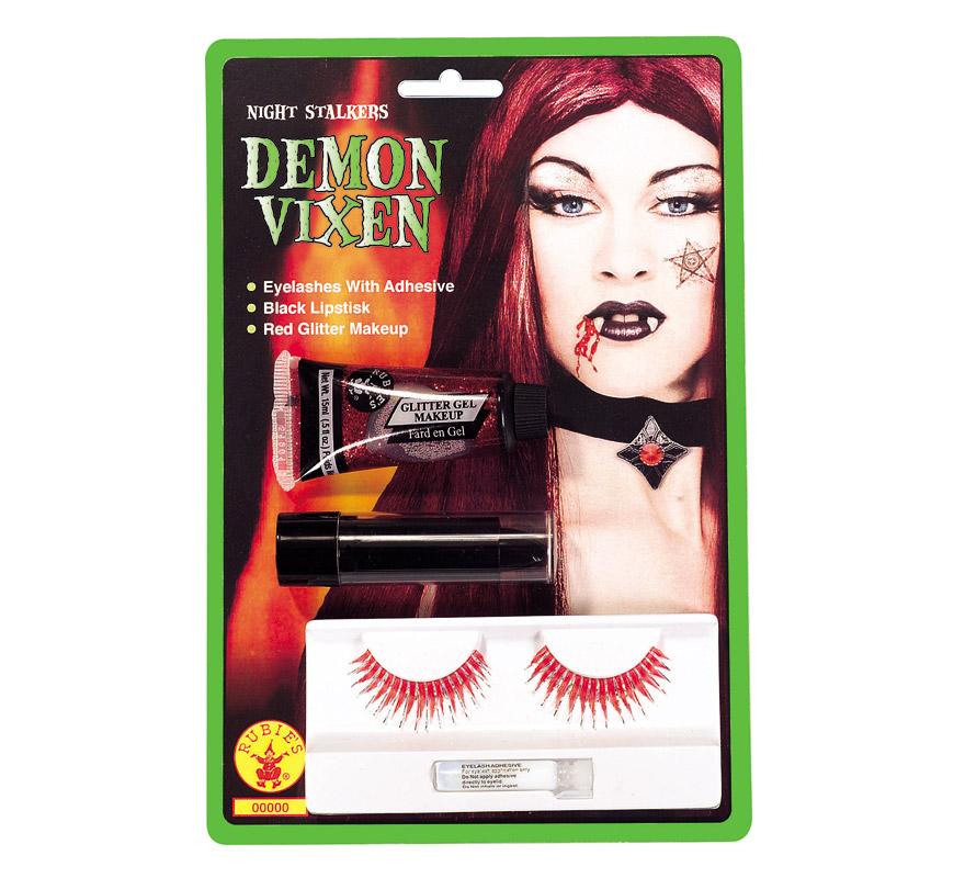 Set de maquillaje de Bruja rojo para Halloween. Incluye pestañas, pintalabios y gel glitter.