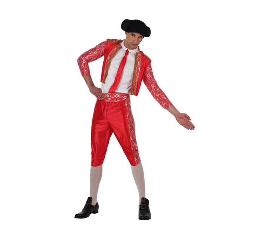 Disfraz barato de Torero rojo para hombre. Talla 2 ó talla Standar M-L 52/54. Incluye disfraz pantalón, chaqueta, montera de tela y corbata. Camisa NO incluida. Un disfraz ideal para Despedidas de Soltero.