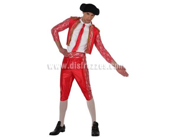 Disfraz barato de Torero para hombre. Talla Standar M-L 52/54. Incluye chaqueta, pantalón, fajín, corbata y montera de tela. Un disfraz ideal para Despedidas de Soltero.